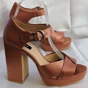 DKNY Platform Satin Sandals